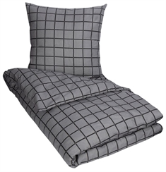 King size sengetøy - 100% bomull -  Check dark gray - 240x220 cm
